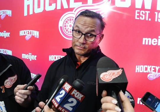 Detroit Red Wings general manager Steve Yzerman talks to local media at Little Caesars Arena on Thursday.