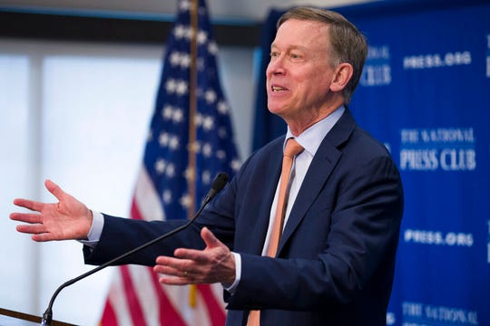 Former Colorado Governor John Hickenlooper speaks during a media availability at the National Press Club, Thursday, June 13, 2019, in Washington.