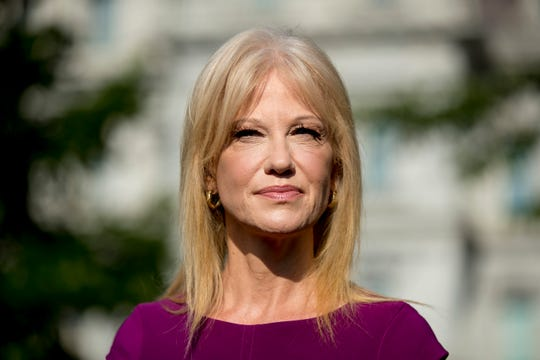 Counselor to the President Kellyanne Conway pauses while speaking to reporters outside the West Wing of the White House in Washington, Wednesday, May 29, 2019.