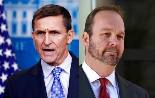 The House Intelligence Committee has subpoenaed former White House national security adviser Michael Flynn, left, and former Trump campaign aide Rick Gates as part of its investigation into Russian efforts to interfere with the 2016 election.