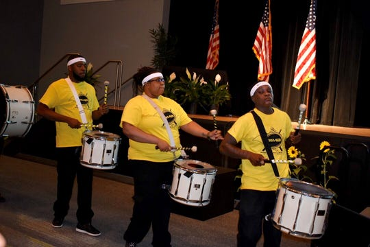 "The Pontiac All-Star Marching Band kicks off the program before Pontiac Mayor Deirdre Waterman delivers the State of the City address focusing on ""Triumphs, Challenges and Opportunities"" at United Shore in Pontiac, Michigan on June 12, 2019."