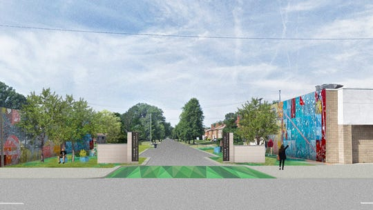 A proposed rendering for a gateway into the historic Russell Woods neighborhood at Leslie Street. Only one sign designates it as such at West Davison Street and Broad Street.