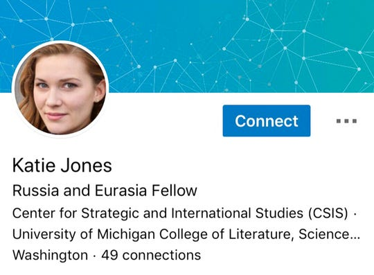 This image captured on Tuesday, June 11, 2019 shows part of a LinkedIn profile for someone who identified themselves as Katie Jones. The Associated Press has found it is one of many phantom profiles that lurk on the social media platform.