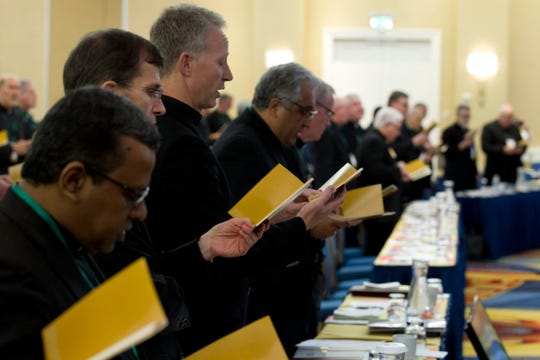 Catholic Bishops participates in a morning prayer, during the United States Conference of Catholic Bishops (USCCB), 2019 Spring meetings in Baltimore, Tuesday, Jun 11, 2019.