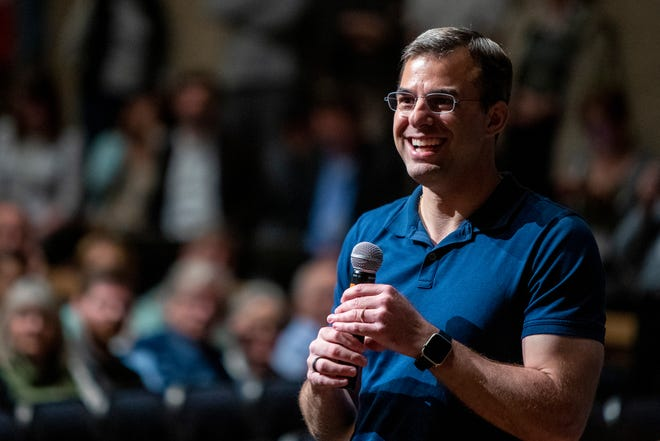 U.S. Rep. Justin Amash holds a town hall meeting at Grand Rapids Christian High School's DeVos Center for Arts and Worship in May 2019.