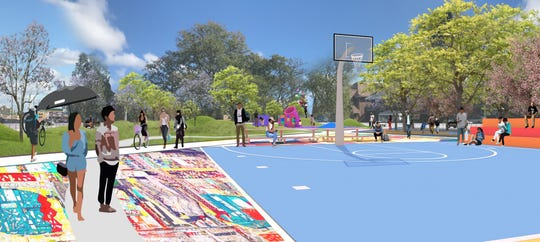 Upgrades to Zussman Park will move the basketball court to make room for a larger artistic plaza entryway. The park also is getting new play equipment, a picnic area and noise-reducing measures.