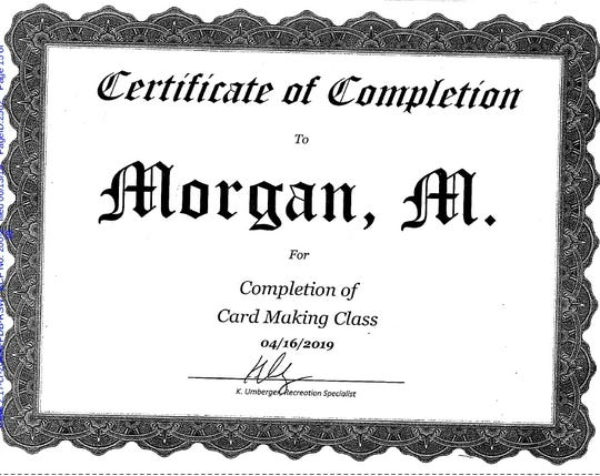 Monica Morgan-Holiefield received this certificate while in a Kentucky prison