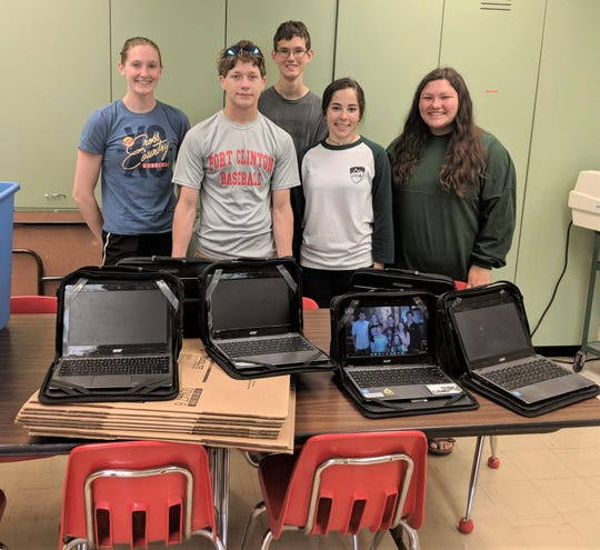 Port Clinton High School senior Bryanna Barr led an effort to send donated learning devices to Strength for the Journey.  From left are Barr with fellow PCHS Leadership Council members Jameson Mullens, Ethan Luma, Brooke Martinez, and Lilly Howell.