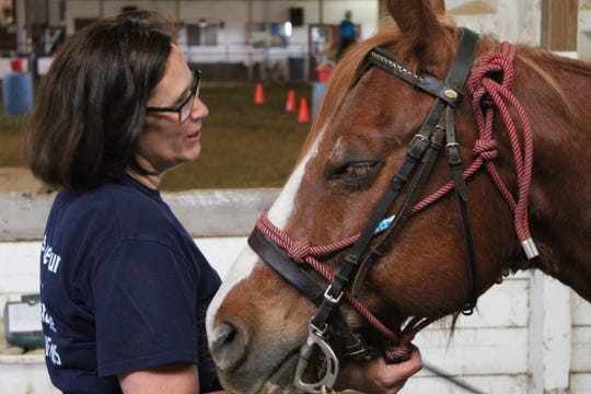 Riders Unlimited volunteer Sue Hoffman talks to one of the facility's horses Monday at an equine therapy session. The Ottawa County organization is trying to carry on the legacy of its former chief operating officer, Rebekah Recker, who was diagnosed with an inoperable brain tumor in November 2018.