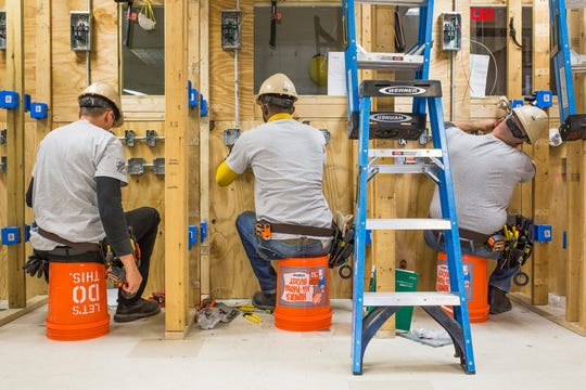 This photo provided by The Home Depot shows students training at the The Home Depot Foundation and HBI's Ft. Stewart Program on a job site in Ft. Stewart, Ga. The Home Depot Foundation announced last year that it was committing $50 million to skilled trades training with plans to attract 20,000 people by 2028. (Samuel Hodges/Samuel Hodges Photography/The Home Depot via AP)