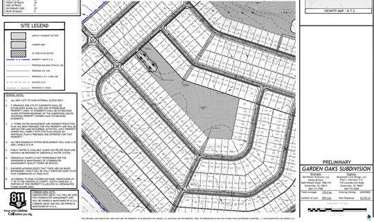 This screen shot of the preliminary Garden Oaks subdivision plan shows where homes would be most tightly packed at the southern end of the 335-acre tract. The full proposal, submitted June 5, 2019, calls for 870 homes off Old Pelzer and Bessie roads in Piedmont.