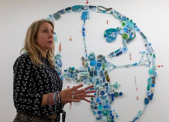 "Artist Pam Longobardi talks about her art installation at the Franklin G. Burroughs-Simeon B Chapin Art Museum. Longobardi is one of six artists featured in the ""Can't You Sea? Ocean Artifact Exhibit from June 15 to Sept. 8, 2019."