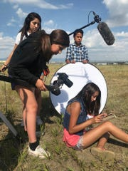 "Browning students filming ""Aisitsimsta/Imagination,"" which won a High School Student Production award for Short Form Fiction at the Northwest Regional Emmy Awards Gala in Seattle last weekend."