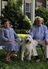 John A. Logan III and wife, Jackie Barnett Logan enjoy a spring day with their dog, Daisy fin 2018.