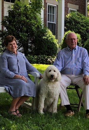 John A. Logan III and wife, Jackie Barnett Logan enjoy a spring day with their dog, Daisy fin 2018.