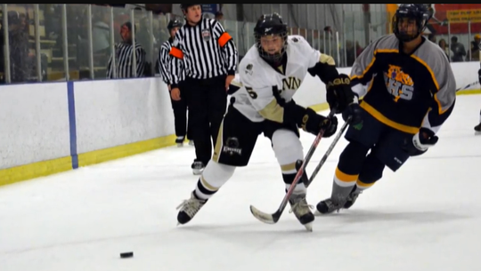Jack Savage (left) was aggressive and brilliant on the ice as a forward, playing  for the Penn Kingsmen club.