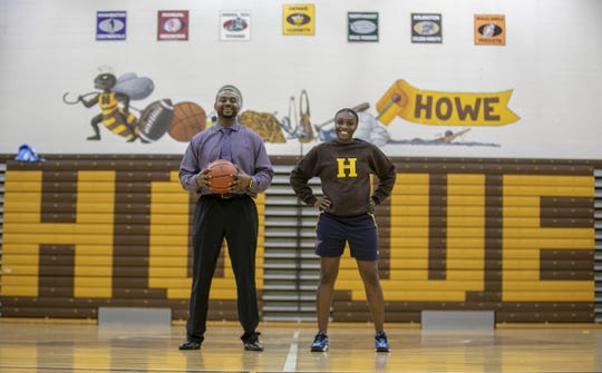 Thomas Carr Howe Community High School's DeAndre Brock (left), the new boys basketball coach, and and girls basketball coach Porchia Green hope to bring more pride to city high schools.