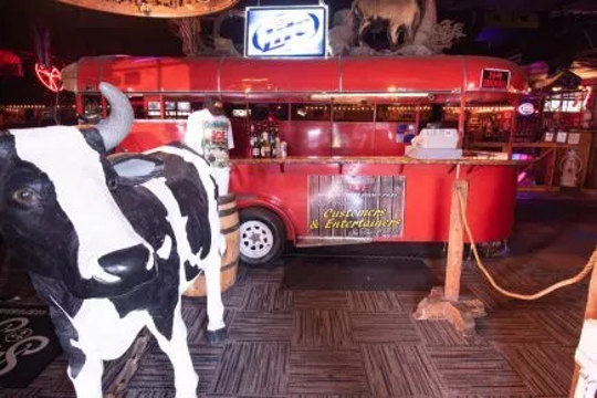 A steer is just one part of the extensive décor at the Cotton Eyed Joe nightclub.