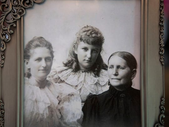 "Photograph of Louisa Franklin and her twin daughters Adelia Armstrong and Elizabeth ""Lizzie"" Armstrong at Bleak House."