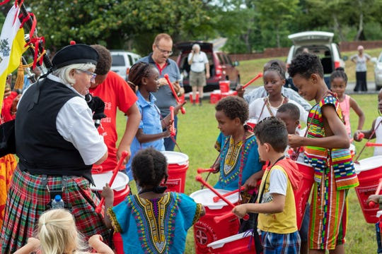 Only at World Refugee Day will you see pipes and drums like this! June 23, 2018.