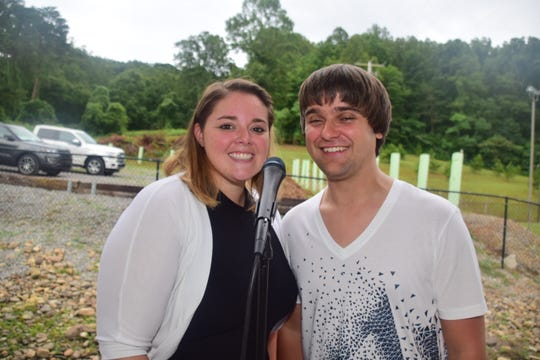 Ashley and Gage Sharp keep the crowd entertained with pop and folk favorites at the second annual Lions Club Shrimp Boil held at the Lions Club pavilion Saturday, June 8.