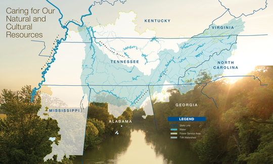 The Tennessee River system managed by TVA.