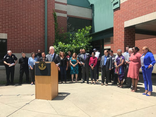 Mayor Greg Fischer announces the launch of the Synergy Project, a community engagement initiative modeled after The Illumination Project undertaking in Charleston, South Carolina, after the fatal 2015 church shooting.