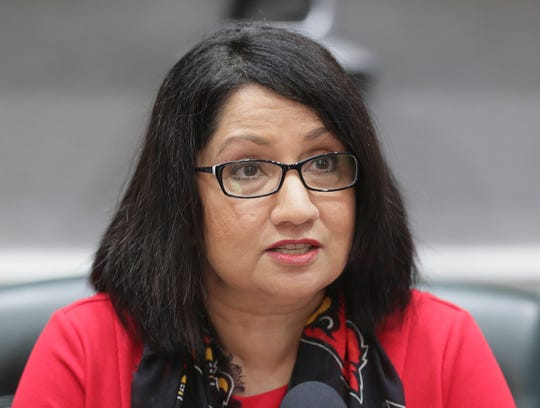 UofL President Neeli Bendapudi speaks during a press conference about the failed sale of Jewish Hospital.
