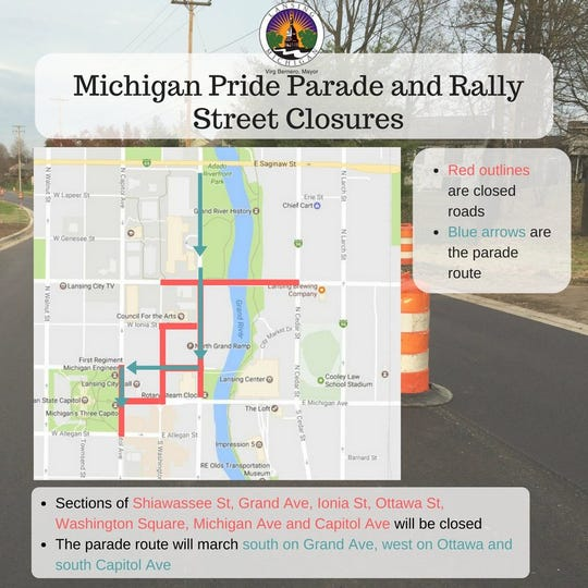 A look at Saturday's Michigan Pride parade route and street closures in downtown Lansing during the event.