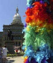Rainbow colored, feather boas were plentiful at the State Capitol during the 2017 Michigan Pride Parade. Expect a lot more colorful decorations and outfits at Saturday's parade.