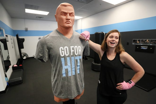 Brandi Reed, owner of 30 Minute Hit, a female client only kickboxing gym she runs with her husband Jonathon, in Germantown on Wednesday, June 12, 2019.
