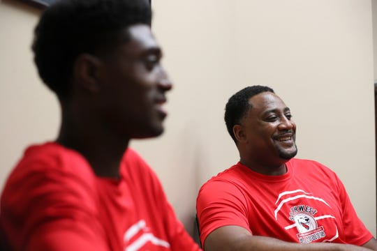 Southwest Tennessee Community College basketball Coach Cedric Henderson chats about his son, Cedric Jr. at the school where for the last year, Henderson was able to coach him as he averaged a team-high 17.9 points per game. Cedric Jr. recently committed to play basketball next season at Campbell University.