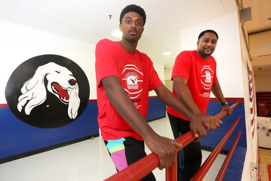 Southwest Tennessee Community College basketball Coach Cedric Henderson and his son, Cedric Jr. at the school where for the last year, Henderson was able to coach his son as he played forward, averaging a team-high 17.9 points per game. Cedric Jr. recently committed to play next season at Campbell University.