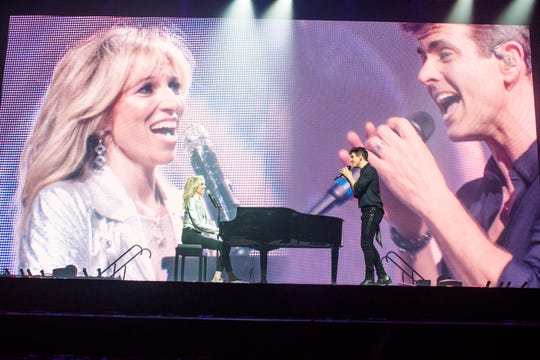 "Debbie Gibson sings a duet of ""Lost In Your Eyes"" with New Kids on the Block's Joey McIntyre on ""The Mixtape Tour,"" including in Milwaukee on Wednesday night, June 12, 2019."