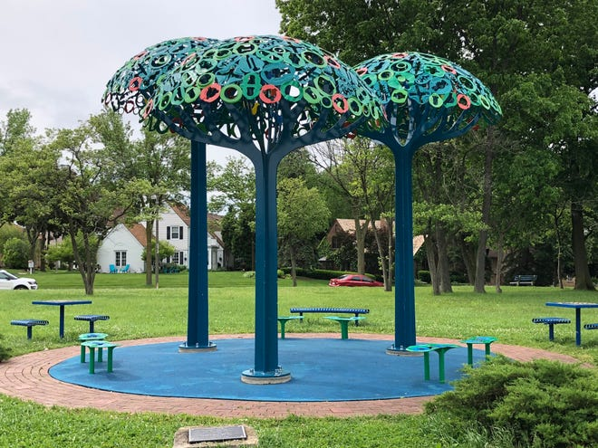 """The late Nancy Metz White created """"Magic Grove"""" in Enderis Park from reclaimed industrial metal."""