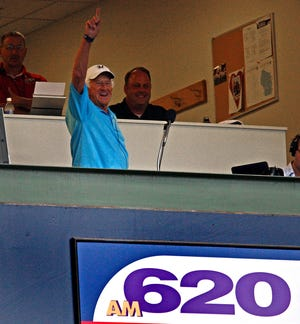 Brewers announcer Bob Uecker is shown on his return to the broadcast booth after his heart surgery in 2010.