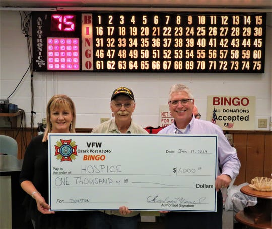 VFW Post 3246 made a $1,000 donation to Hospice of the Ozarks on Wednesday. Shown in the photo are (from left to right) Elaine Essary, Hospice Outreach & Development Coordinator;  VFW Post 3246 bingo coordinator Charles Wensel; and Gregory Wood, Executive Director for Hospice of the Ozarks. For more information about Hospice of the Ozarks, call (870) 508-1771.