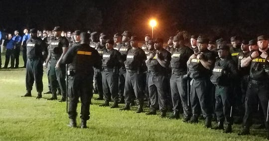 ADOC Correctional Emergency Response Teams prepare for joint operation at Bibb County Correctional Facility on June 12, 2019.