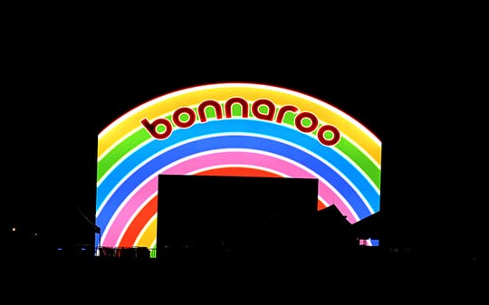A night time view of the new Bonnaroo entrance way in Manchester, Tenn. on Wednesday, June 12, 2019.  The old Bonnaroo arch was taken down due to structural issues.