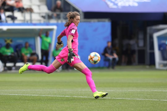 9a36b2eff01 Jamaica goalkeeper Sydney Schneider kicks the ball after saving a penalty  during the Women's World Cup