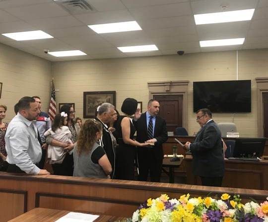 New Councilman Francesco Fasolo is sworn in on June 13 in Elmwood Park.