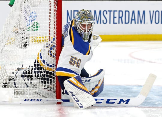 Jordan Binnington #50 of the St. Louis Blues tends net against the Boston Bruins during the second period in Game Seven of the 2019 NHL Stanley Cup Final at TD Garden on June 12, 2019 in Boston, Massachusetts.