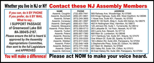 A mailer sent out in West Milford in June 2019 urges residents to support a bill that would provide an annual funding sources to maintain the New Jersey end of Greenwood Lake.