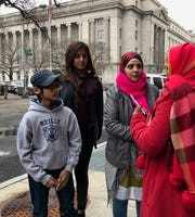Evana Akter, along with her mother, Rojina, and brother, Arik, outside the Peter Rodino Federal Building in Newark on February 15, 2018,  prior to them leaving to Bangladesh in April of 2018.
