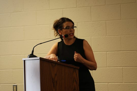 Neomi Martinez Parra of Lordsburg addresses Hidalgo County commissioners and members of the public about the closure of Sunshine Haven at the commissioners' public meeting on Wednesday, June 12, 2019.