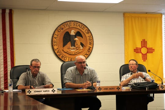 From left, Hidalgo County Commissioners Johnny Hatch, Chairman Joey Mora and Joel Edwards at the commissioners' public meeting in Lordsburg on Wednesday, June 12, 2019.