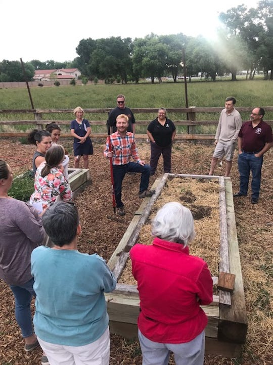 "Bernalillo County Cooperative Extension Agriculture Agent John Garlisch leads a ""Summer Raised Bed Gardening"" workshop in Albuquerque the first week of June."