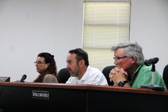 The Otero County Commission form left to right: Commissioner Lori Bies, Commission Chairman Couy Griffin and Commission Vice-Chair Gerald Matherly at the regular Otero County Commission meeting June 13.