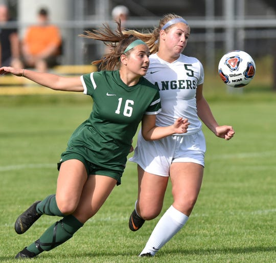Novi Wildcat co-Captain Jessica Bandyk, left, and Forest Hills Central midfielder Grace Kline both pursue the ball.