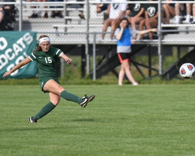Avery Fenchel shoots...the Forest Hills Central goalie misses...and then Fenchel celebrates Novi's first goal.